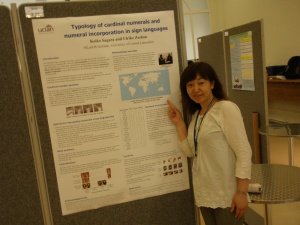 iSLanDS research officer Keiko Sagara presents a poster on the typology of number systems in sign languages