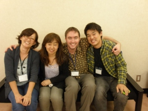 Keiko Sagara, Nick Palfreyman, and previous iSLanDS visitors Masaomi Hayashi (far right) and Hitomi Akahori (far left) at the conference