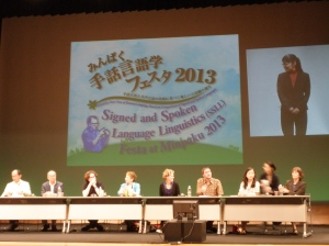 The symposium at SSLL Festa, Minpaku 2013, with Nick Palfreyman fourth from right