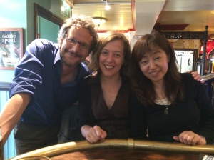 Fellow linguists Markus Steinbach and Pamela Perniss with Keiko