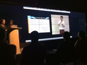 Kang Suk Byun presents by video while Professor Ulrike Zeshan voices over