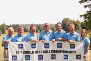 Simeon Hart, third from left, pictured with fellow board members of the World Deaf Golf Federation