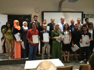 Participants in the English Teacher Training for the Deaf programme in Jordan with their certificates