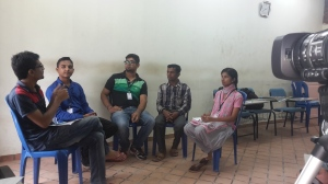 Trainees take part in a discussion group about teaching English