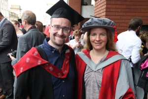 Paul celebrates with Ulrike at the graduation ceremony last week