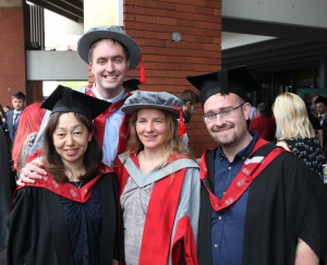 Graduates Keiko Sagara, Nick Palfreyman and Paul Scott with iSLanDS director Ulrike Zeshan